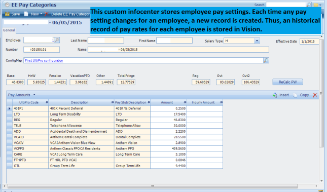 pay categories